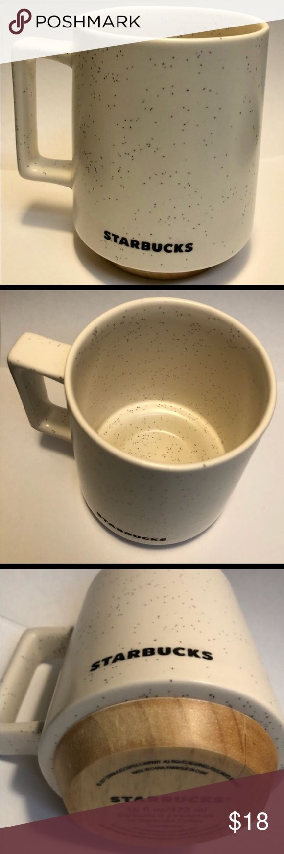Starbucks Ceramic Coffee Mug Starbucks Ceramic Coffee Mug With Faux Wood Base 16 Fl Oz NEW 2017 New  Ceramic Mug Faux wood base looks like wood feels like plastic, small hairline fracture on the wood base.Doesn't affect the over all function. 16oz Starbucks Other