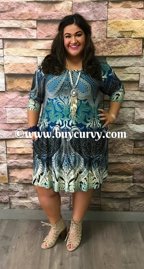 #1-E Teal/Blue Ethnic-Paisley Print Dress with Side Pockets