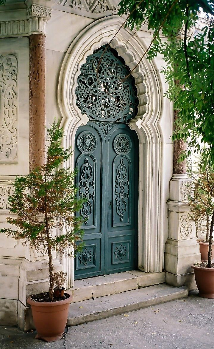 Istanbul, Turkey, ornament door, entrance, portal, romantic, door, details, trees, beautiful, architechture, photo