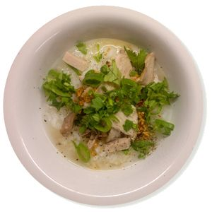 Rissuppe med svinekød (Khao dhom muh)