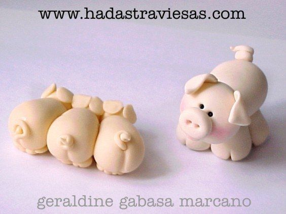 Polymer Clay pigs, masa flexible, cold porcelain, masa francesa, porcelana fria