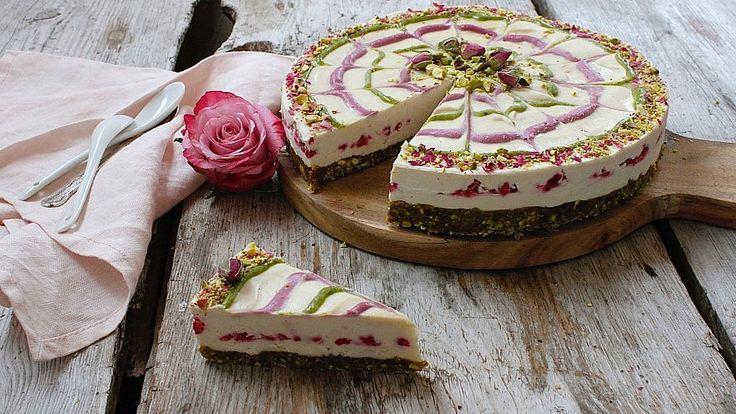 Pistachio, raspberry and lemon cheesecake