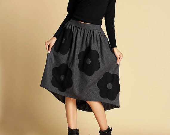 Dark gray wool skirt womens wool skirt with Applique by xiaolizi