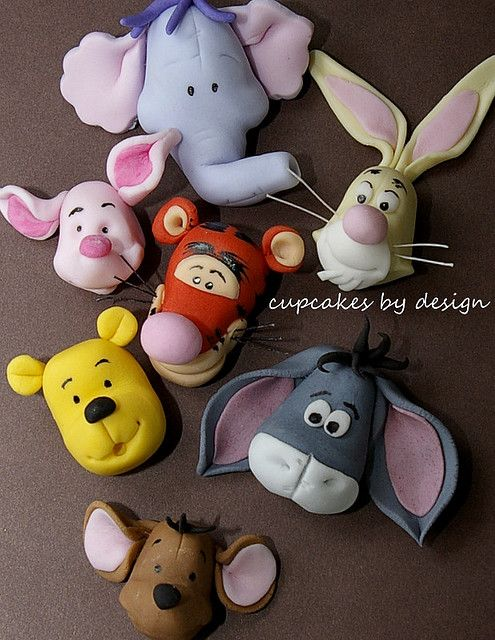 Winnie the Pooh and friends gum paste- no instructions but still great visual. You can make these just by the visual. Very easy.