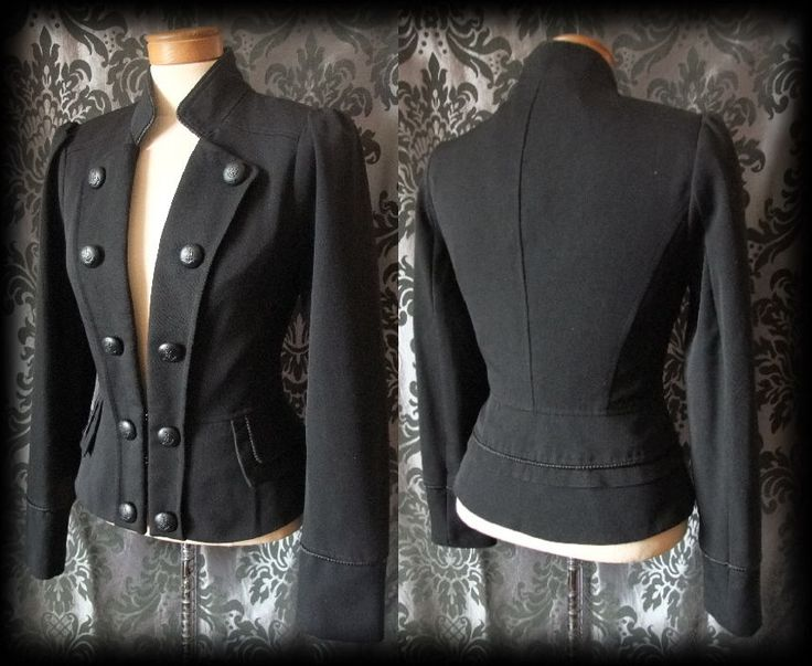 Gothic Black Fitted PARAMOUR Jacket Coat 8 10 Victorian Military Steampunk - £36.00