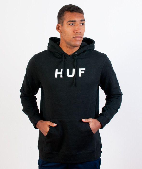 HUF-Original Logo Hoody Black | KATEGORIE \ BLUZY \ Z KAPTUREM HUF \ BLUZY \ Z KAPTUREM