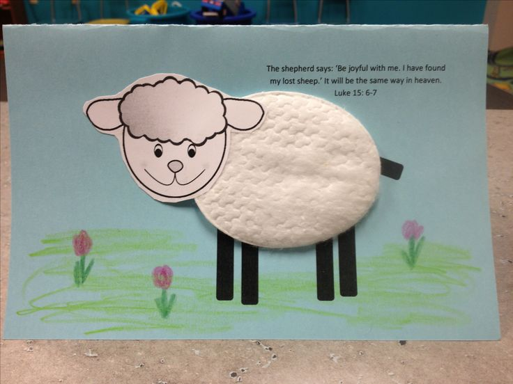 A craft for the lost sheep parable using cotton pad from cosmetic department.