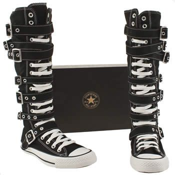 *Check em out! They are knee high, they have a zip, they are black and flat and awesome but they also have buckles and straps for that extra clubby, alternative rocker look. I am totally loving the looks of these, though I'd probably change the laces from white. How I wish they'd do an all black version of these!*