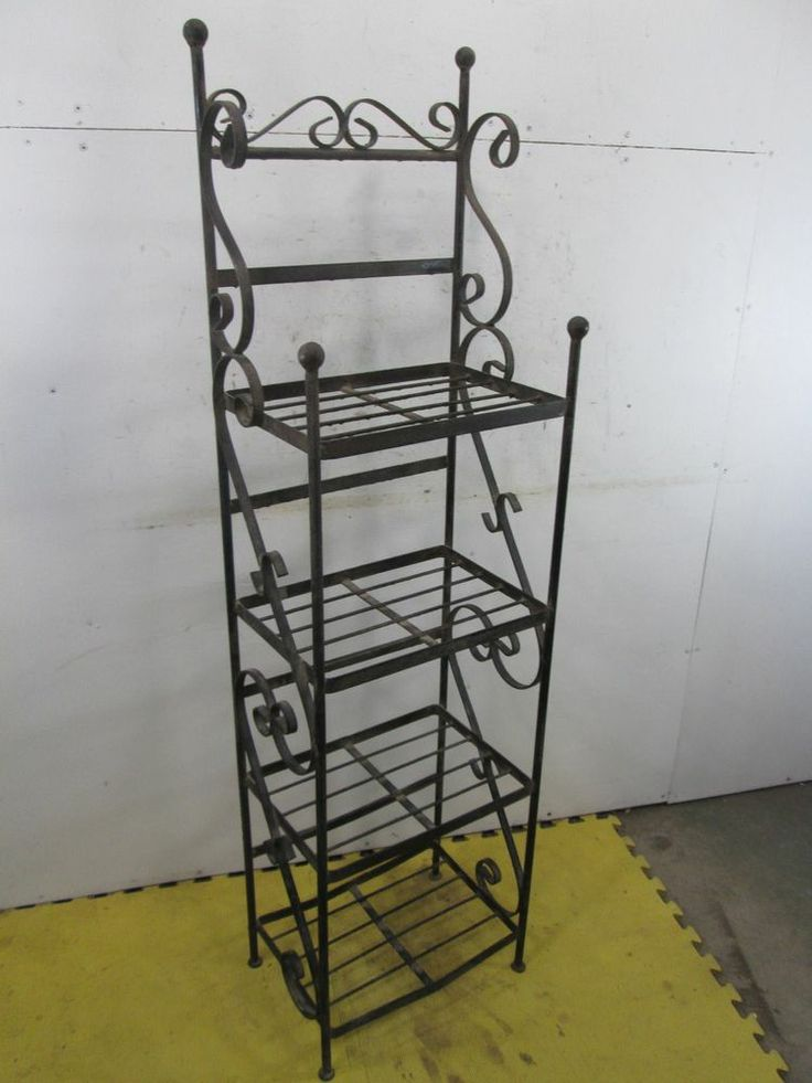 Vintage Heavy Wrought Iron 4 Tiered Book Plant Stand