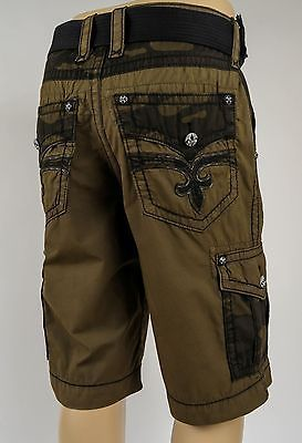 6c6edf84 Rock Revival Jeans 2016 Mens Cargo Shorts Military Camo w/ Leather, 32 34 36  38