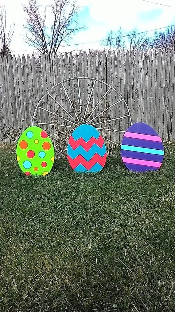 Easter Eggs Outdoor Wood Yard Art Lawn Decoration Etsy Wood