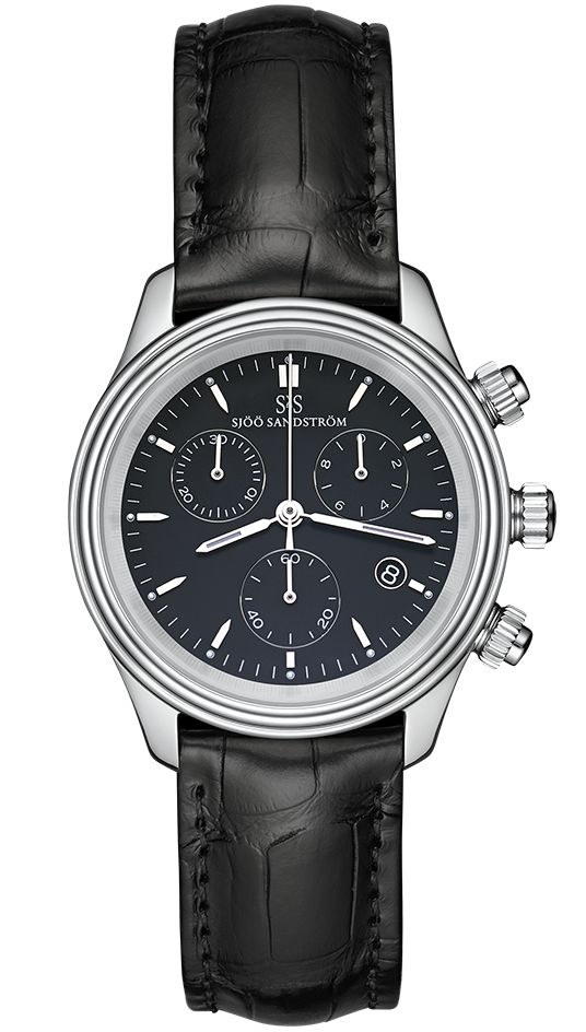 Royal Steel Chronograph 35,5 mm, black dial with black alligator. #sjöösandström #sjoosandstrom #watch #watches #classic #womenwatch #ladies