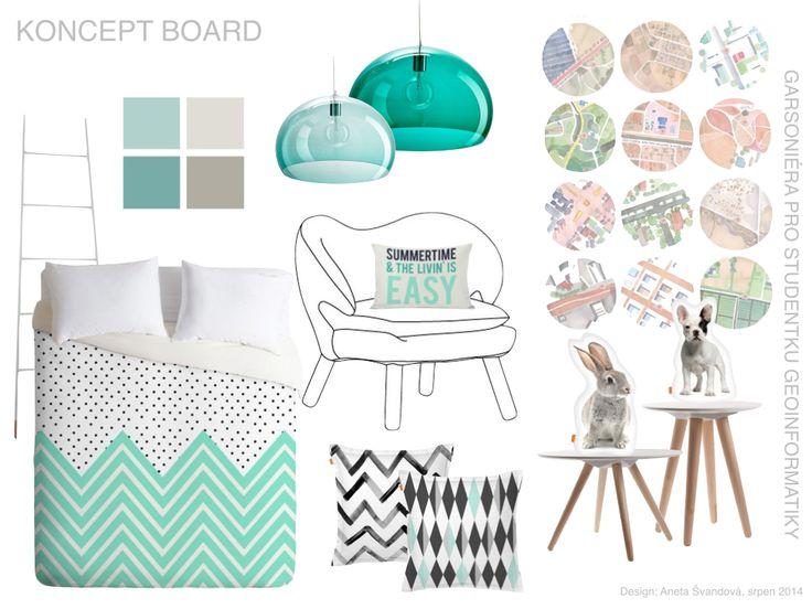 Studio single apartment concept board, scandinavian design by DesignAny