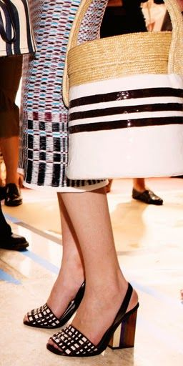 Straw basket hand-dipped in white and navy stripes - Tory Burch Spring 2015