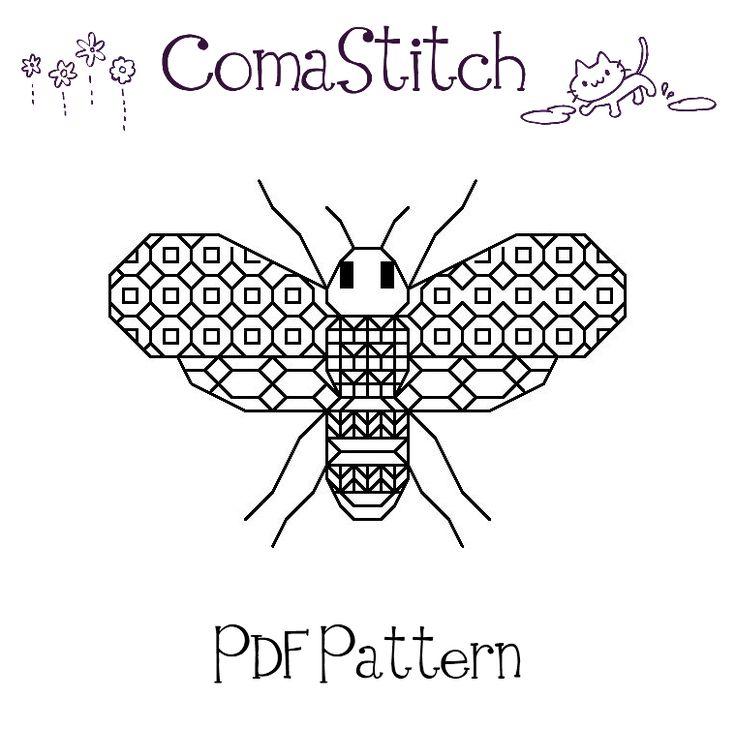 Blackwork bee printable pattern pdf with images