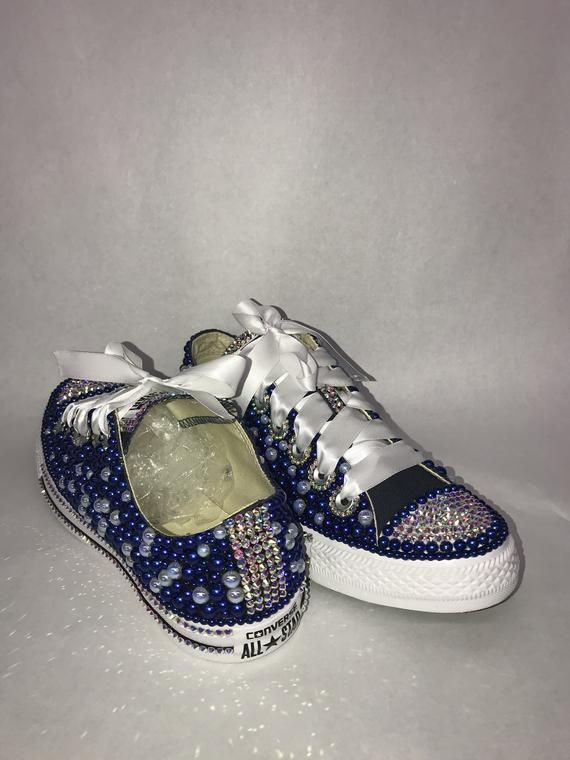 69876cd34895 WOMEN S Very Blue Bling Converse All Star Chuck Taylor Sneakers Low ...