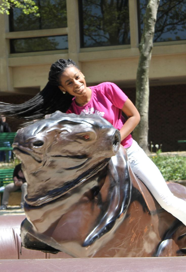 MCCC student hanging on during a bucking bull ride on Spring Day.