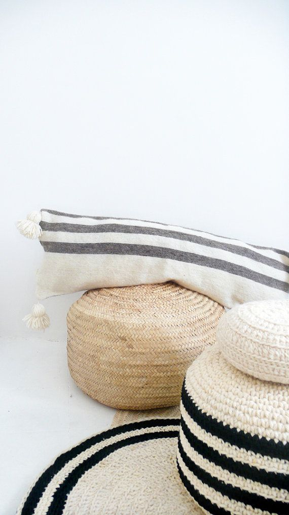 Moroccan POM POM Wool Pillow Cover  Extra Long in by lacasadecoto