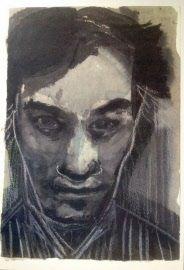 DUMAS, MARLENE -  Portret van Jan Hoet - Herdenkingskaart uitgegeven ter nagedachtenis aan Jan Hoet, 05-03-2014 Kaartop 300g karton,A4, offset, met het portet 'JH 1992' van Marlene Dumas, en op de achterkant een aan Hoet opgedragen gedicht van Roland Jooris. - In prima staat