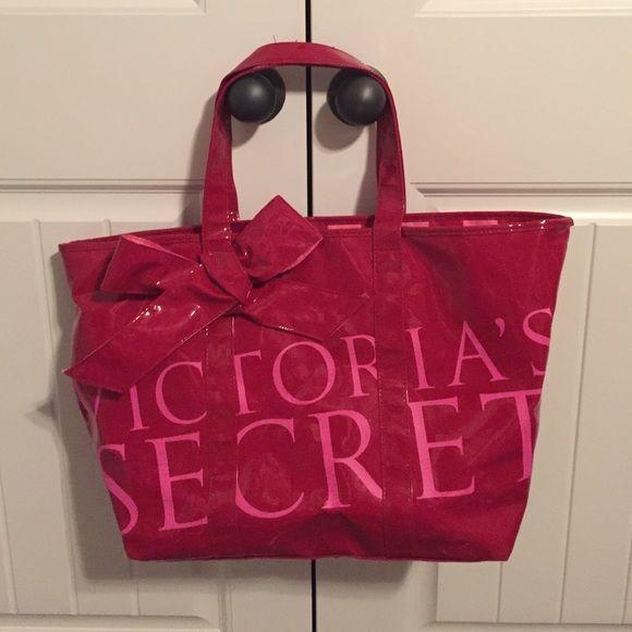 Victoria's Secret Tote Bag EUC hardly used Patent Victoria's Secret Tote bag. Red and pink striped interior. Victoria's Secret Bags Totes