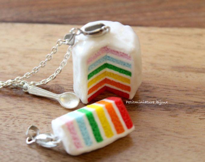 Collana torta arcobaleno-Gioielli fimo-Fetta Di Torta-Festa di Compleanno