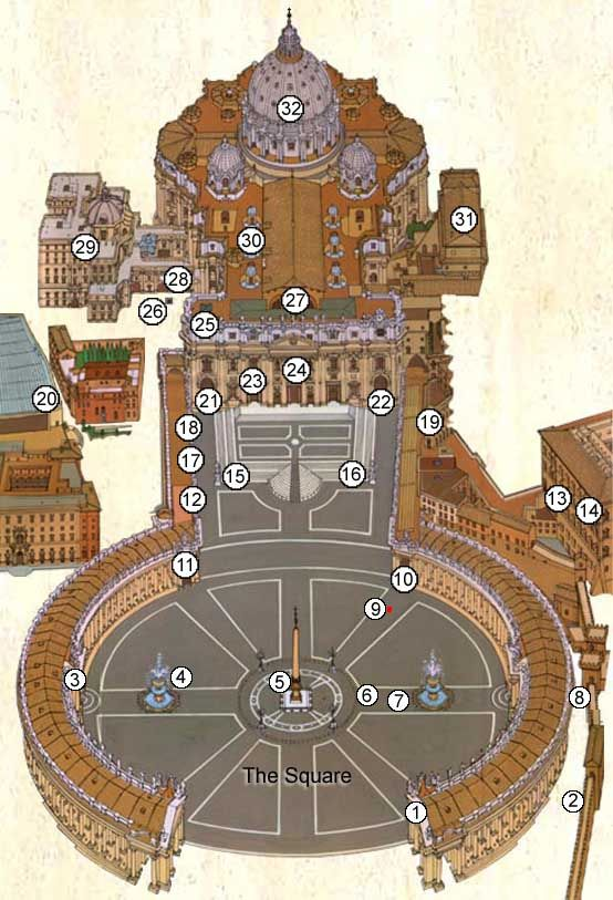 St. Peter's Square & Basilica - Map