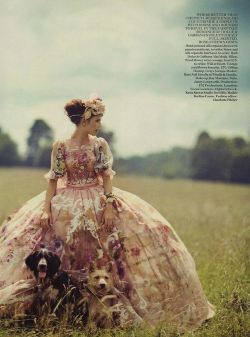 Karlina Caune by Boo George for Vogue UK (October 2012).  Dolce & Gabbana dress.