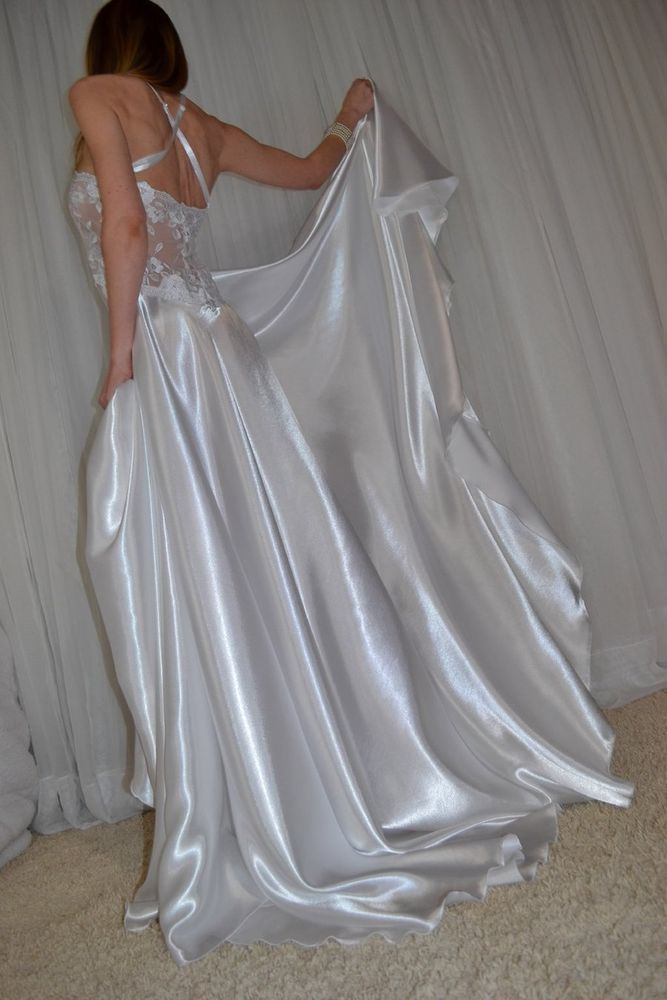 Details About Vtg Lingerie Silky Satin Nylon Lace Full