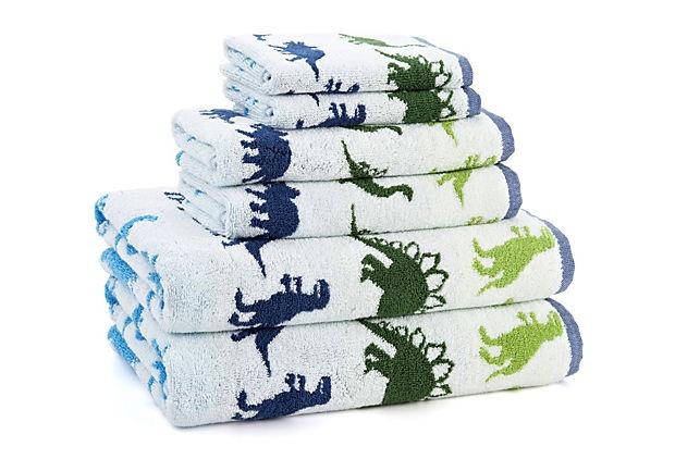 6 Pc Printed Dino Park Bath Set Blue Green Toddler