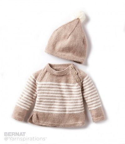Knitting Patterns Galore - Wee Stripes Knit Pullover and Hat
