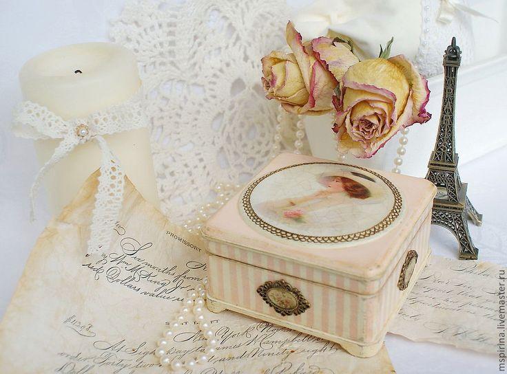 """Купить Шкатулка """"Воспоминания о былой любви..."""" - шкатулка, ретро, винтаж, полоска, бледно-розовый"""