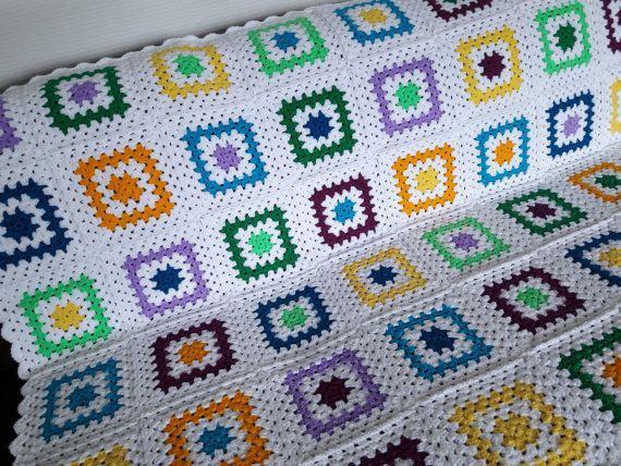 Colorful Sofa Throw Blanket Colorful Afghan by PhoenixSmiles