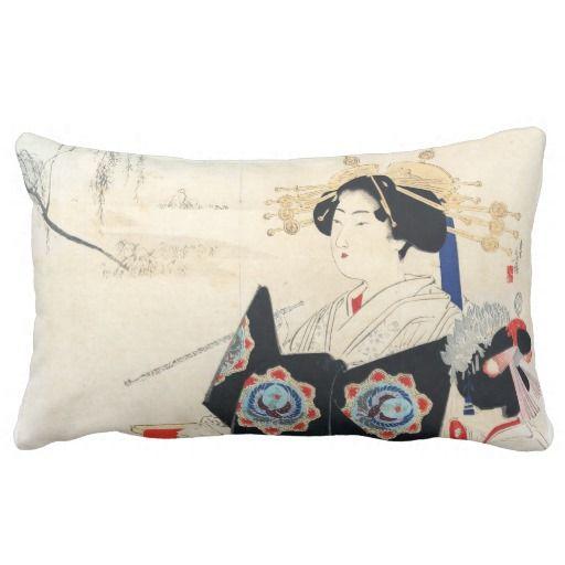 Mizuno Toshikata Courtesan and Maid oriental art Pillow
