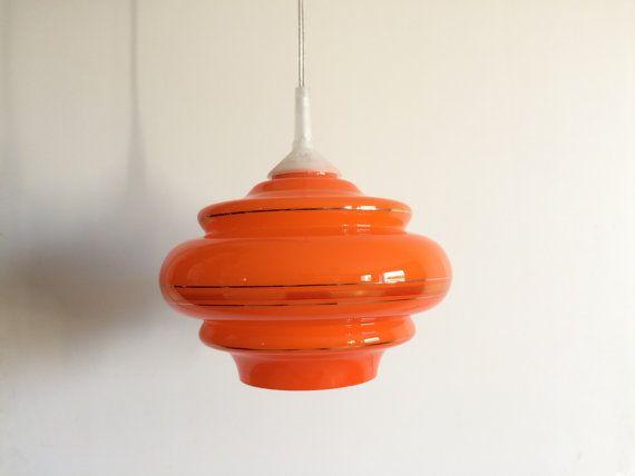 Lampe Hängelampe 60er Jahre Mid century Orange von BuashkoGarage