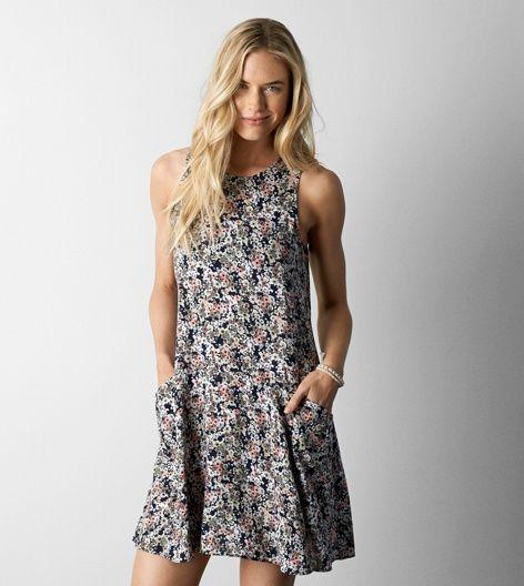 Olive AEO Pocket Shift Dress