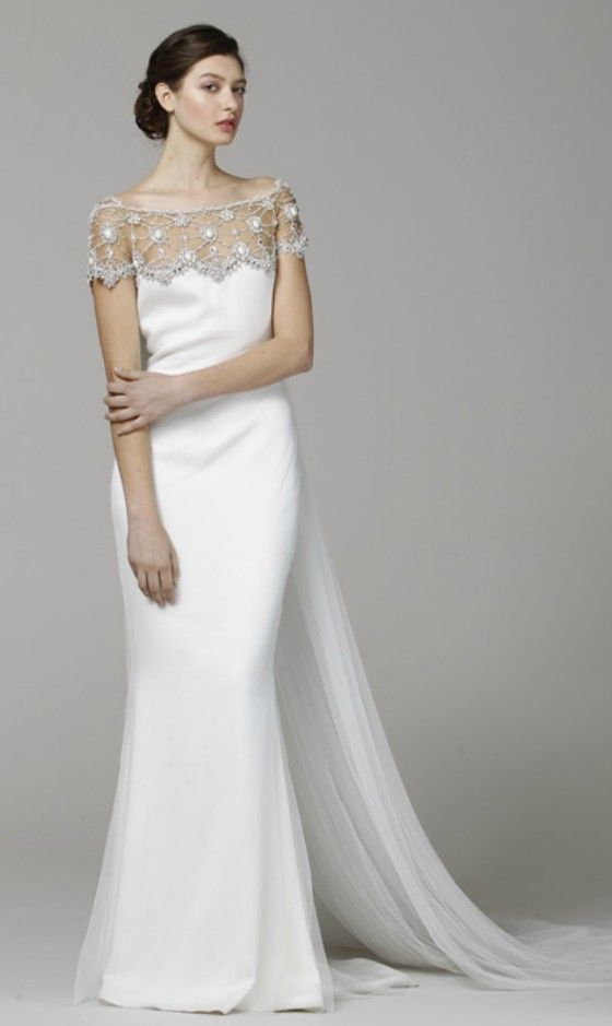 Elegant off the shoulder wedding dress for older brides for Wedding dresses for 60 year olds
