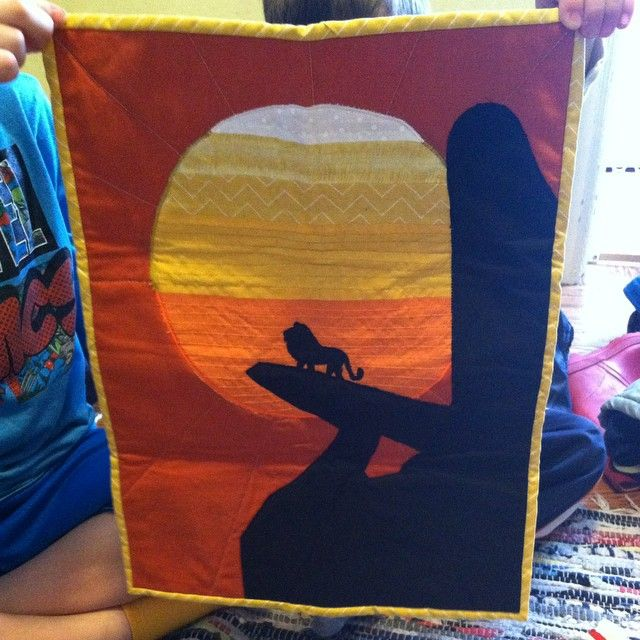 Lion King Mini Quilt by @madamefrogette!!!! This is amazing!!! #disneyquiltswap2015