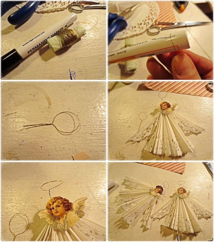 hobby,jul, julpyssel,shabby chic, änglar, juldekoration,änglar av tårtpapper,DIY
