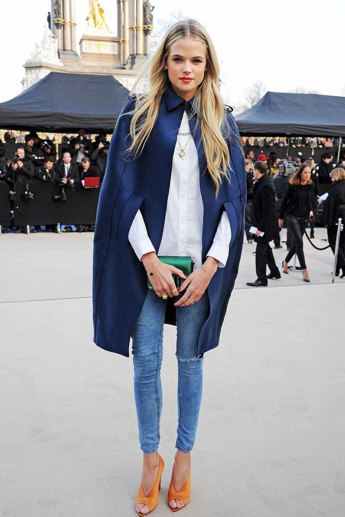 Gabriella Wilde at the Burberry Prorsum Fall 2014 fashion show during London Fashion Week in London, England, February 2013