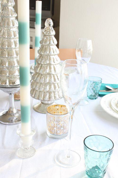 a winter tablescape in silver + aqua