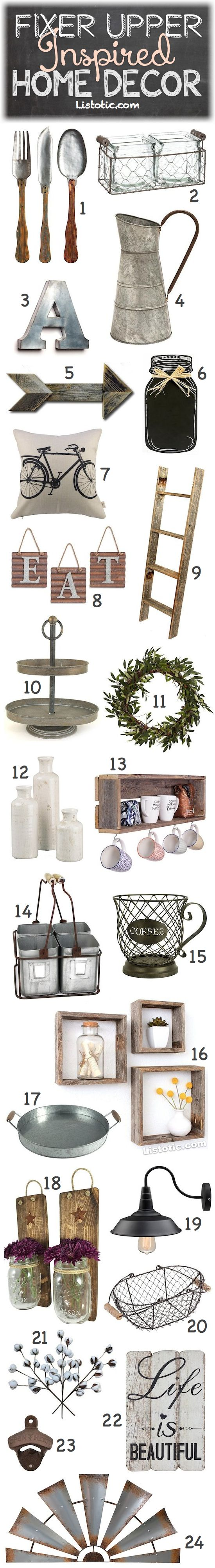 Fixer Upper Home Decor Ideas for your kitchen, bathrooms, bedrooms, or any room of the house! I love these farmhouse decorations.