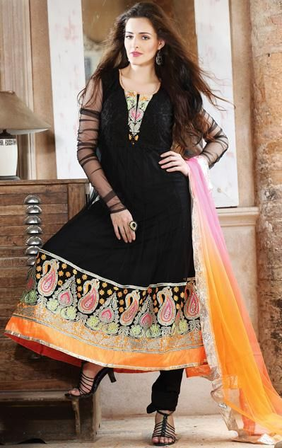 $191.04 Black Resham Work Faux Georgette Anarkali Suit 26065