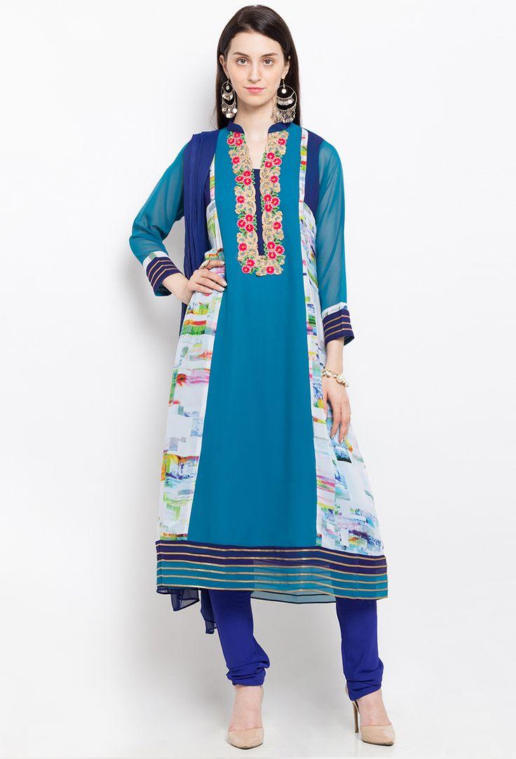 #Readymade #Blue Georgette #Shalwar #Kameez #Dupatta #nikvik  #usa #designer #australia #canada #freeshipping #fashion #dress #suits #sale