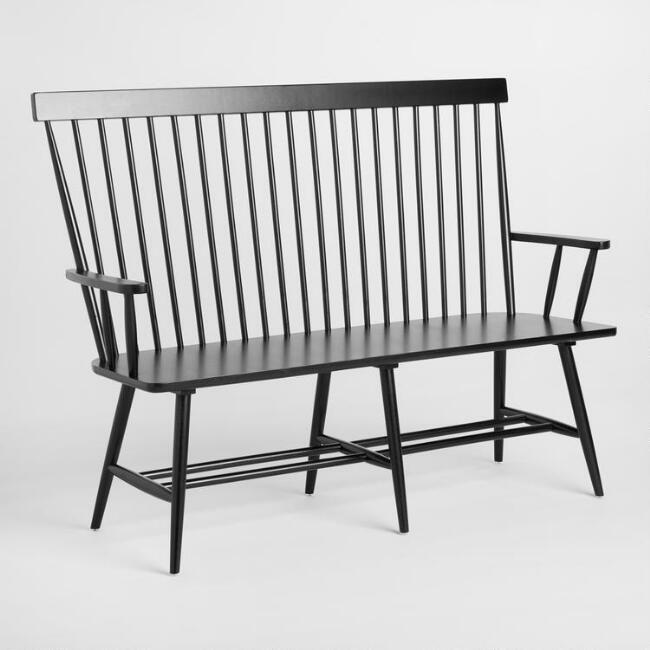 Black Wood Kamron High Back Windsor Bench - v1