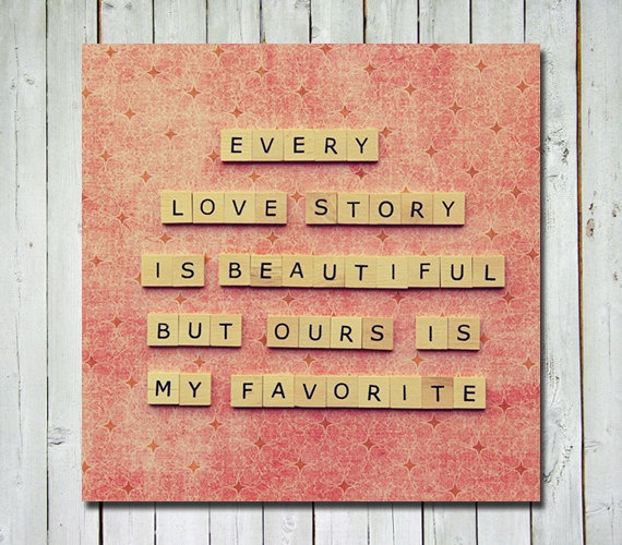 Love quote photograph- valentines day wedding anniversary - quote wall art - letter tiles quote print - 5X5 fine art photograph. $15.00, via Etsy.
