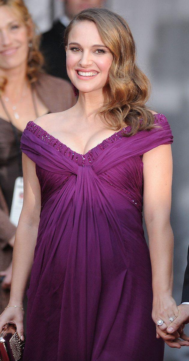 Natalie Portman pregnant at the Oscars - she won for The Black Swan.