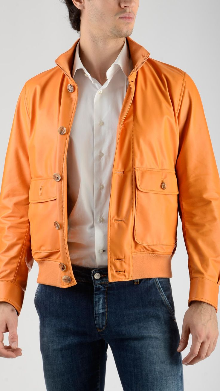 Bomber%20style%20unlined%20jacket%20in%20orange%20leather%20featuring%20knitted%20stand%20up%20collar%20with%20rib%20detailing,%20side%20and%20patch%20pockets,%20zippered%20internal%20pockets,%20full%20lenght%20button%20fastening,%20single%20button%20cuff,%20elasticized%20knitted%20bottom%20band,%20100%%20leather.