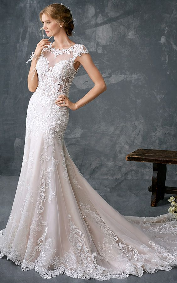 Kenneth Winston 1783 | stunning fitted lace gown | with high illusion and lace neckline and back | romantic wedding gown