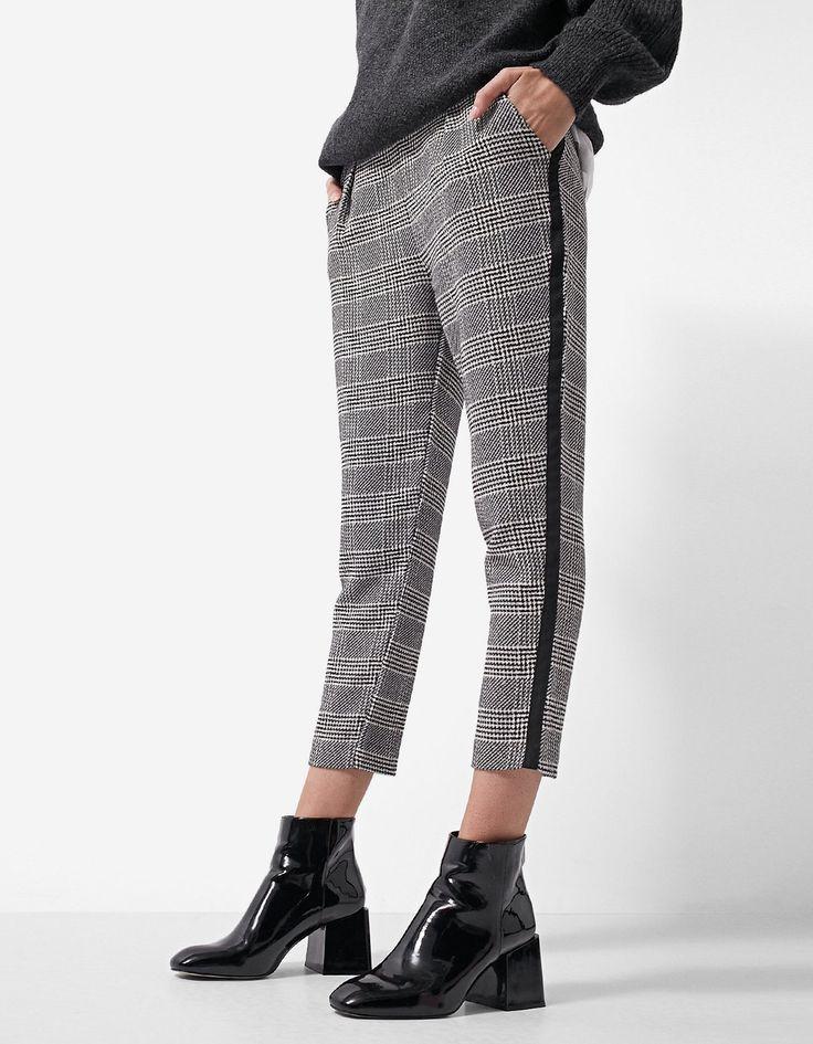 Jacquard trousers with side stripe - Dresses   Stradivarius Romania