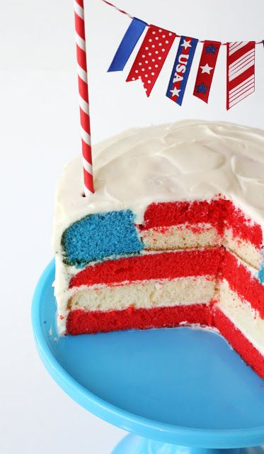 4th of July Flag cake - cool tricks for making this cake with a surprise inside.  Also I like the decorations on top.